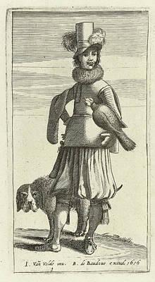 Falconer With Hunting, Jan Van De Velde II Art Print by Jan Van De Velde (ii) And Robert De Baudous
