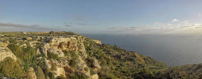 Falconry At Dingli Cliffs, Malta Art Print by Panoramic Images