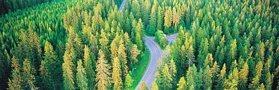 Fall Road Photograph - Fall Aerial Road Forest Kuopio Finland by Panoramic Images