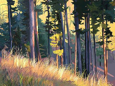 Fall Alpenglow Trees Grasses Art Print