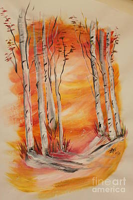 Art Print featuring the painting Fall Aspen On Paper by Janice Rae Pariza