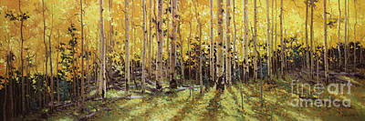 Vibrant Color Painting - Fall Aspen Panorama by Gary Kim