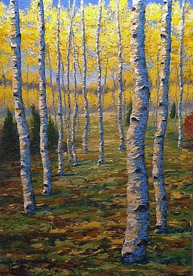 Painting - Fall Aspens by Ned Shuchter