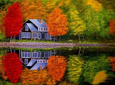 Fall At The Cabin Art Print