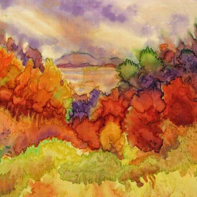 Fiber Art Painting - Fall At The Lake by Deborah Younglao
