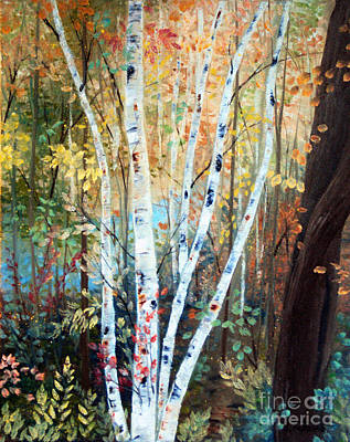 Fall Birch Trees Art Print by Laura Tasheiko