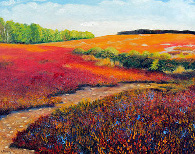 Maine Landscapes Painting - Fall Blueberries 2 by Laura Tasheiko