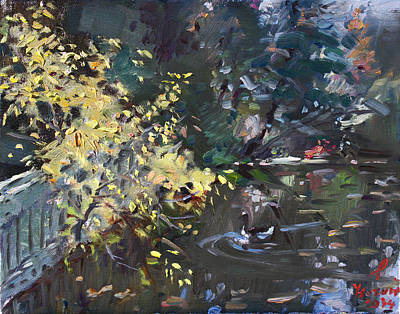 Geese Wall Art - Painting - Fall By The Pond by Ylli Haruni