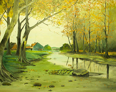 Painting - Fall By The Stream By Merlin Reynolds by Fran Riley