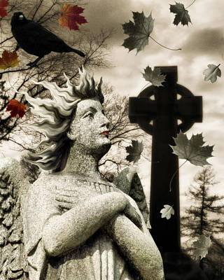 Graveyard Digital Art - Fall Collage by Gothicrow Images
