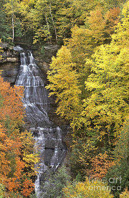 Art Print featuring the photograph Fall Color Surrounds Chapel Falls On The Michigan Upper Peninsula by Dave Welling