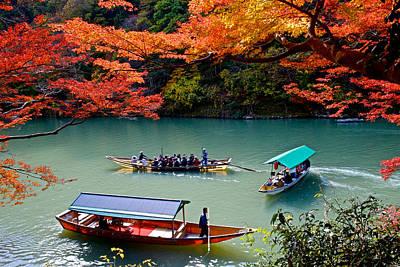 Katsura Wall Art - Photograph - Fall Color Viewing By Boating by Hisao Mogi