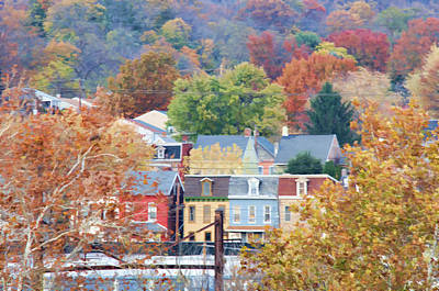 Clouds Rights Managed Images - Fall Colors in Columbia Pennsylvania Royalty-Free Image by Beth Sawickie