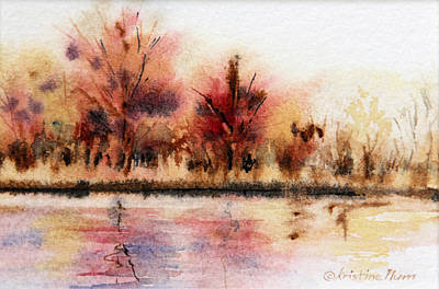 Ducks In Watercolor Painting - Fall Colors by Kristine Plum