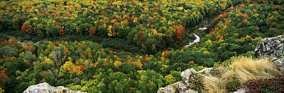 Changing Of The Seasons Photograph - Fall Colors On Mountains Near Lake by Panoramic Images