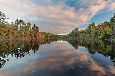 Northwoods Photograph - Fall Colors On Shoreline Of Irwin Lake by Adam Jones