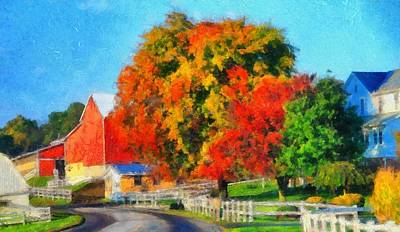 Amish Farms Mixed Media - Fall Colors On The Farm by Dan Sproul
