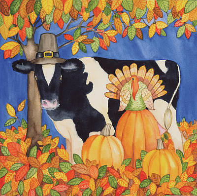 Thanksgiving Wall Art - Painting - Fall Cow by Kathleen Parr Mckenna