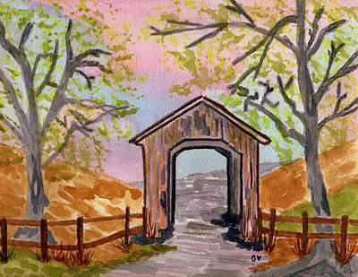 Covered Bridge Painting - Fall Creek Oregon by Connie Valasco