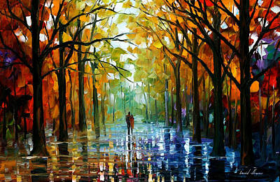 Fall Date - Palette Knife Oil Painting On Canvas By Leonid Afremov Original by Leonid Afremov