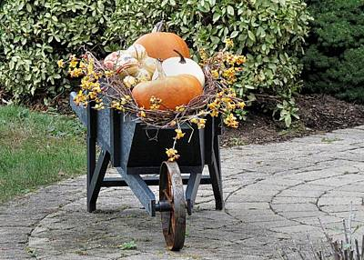 Bittersweet Photograph - Fall Decorated Wheelbarrow  by Janice Drew