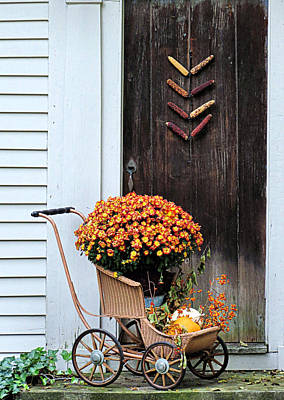 Photograph - Fall Decorative Front Door by Janice Drew