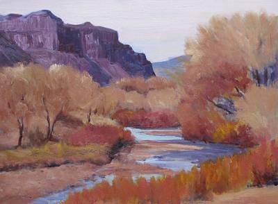 Dolores Painting - Fall-dolores River by Deb Bartos