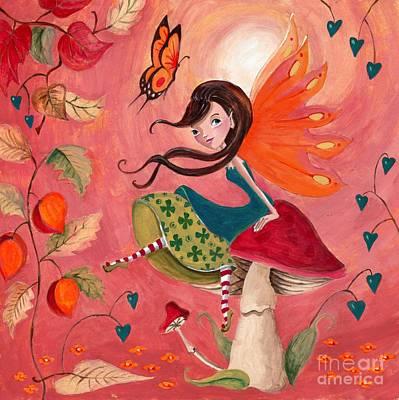 Manga Painting - Fall Fairy by Caroline Bonne-Muller