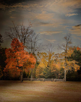 Split Rail Fence Photograph - Fall Fenceline - Autumn Landscape Scene by Jai Johnson