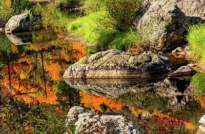 Fall Fire Orange Red Colors Reflection Art Print