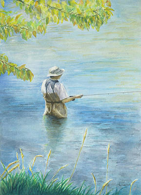Art Print featuring the painting Fall Fisher by Arthur Fix