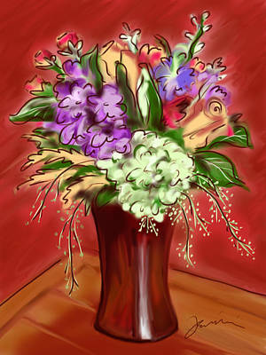 Painting - Fall Flowers by Jean Pacheco Ravinski