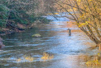 Fall Scenes Digital Art - Fall Fly Fisherman by Randy Steele