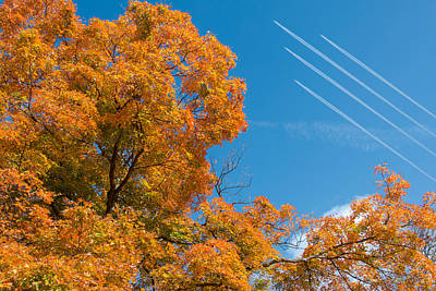 Fall Foliage With Jet Planes Art Print by Tom Mc Nemar