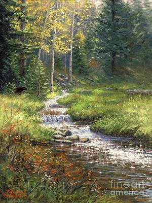 Fall Trees With Stream Painting - Fall Has Come by Asa Gochenour