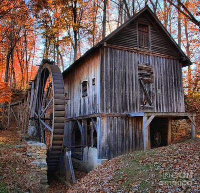 Old Mills Photograph - Fall Hilights Over The Grist Mill by Adam Jewell