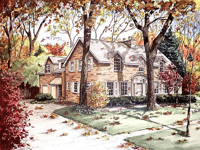 Architecture Drawing - Fall Home Portriat by Mary Palmer