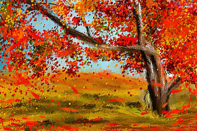 Autumn Scene Painting - Fall Impressions by Lourry Legarde