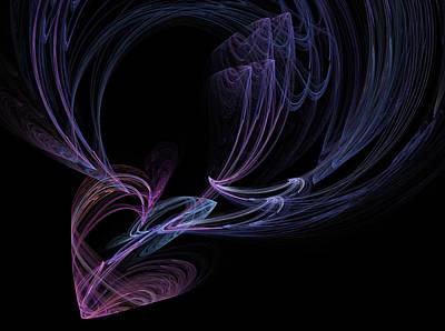 Abstract Hearts Digital Art - Fall In Love Fine Fractal Art by Georgeta  Blanaru