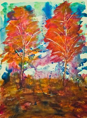 Mixed Media - Fall In Watercolors by Connie Dye