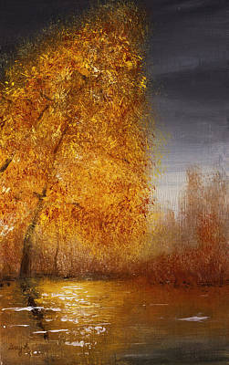 Painting - Fall Lake Reflections by Gray  Artus