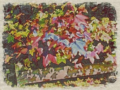 Garden Scene Mixed Media - Fall Leaves #27 by Philip White