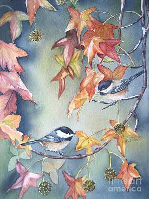 Fall Leaves And Chickadees Print by Patricia Pushaw