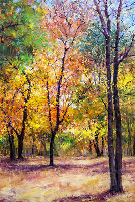 Fall Leaves At Indiana University Art Print by Bill Inman