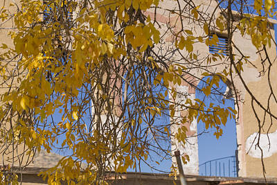 Abandoned Mixed Media - Fall Leaves On Open Windows Jerome by Scott Campbell