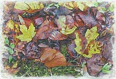 Garden Scene Mixed Media - Fall Leaves On The Ground by Philip White