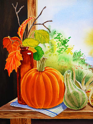 Window Bench Painting - Fall Leaves Pumpkin Gourd by Irina Sztukowski