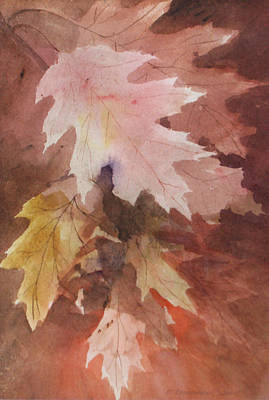 Art Print featuring the painting Fall Leaves by Susan Crossman Buscho