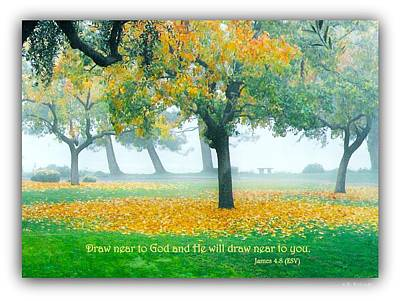 Fall Leaves W Scripture Art Print