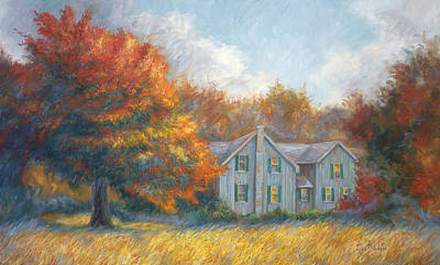 Farm House Painting - Fall by Lucie Bilodeau